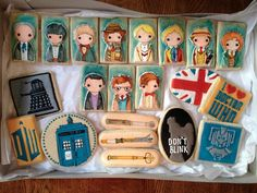 Doctor Who cookie set. I like doctor who. And cookies. Doctor Who Party, Kinds Of Cookies, Don't Blink, Eleventh Doctor, Dr Who, Party Snacks, Dessert Bars, Dessert Food, Dessert Ideas