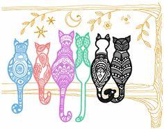 ❚❚ Rainbow cats free embroidery design - Animals free machine embroidery design - Machine embroidery forum
