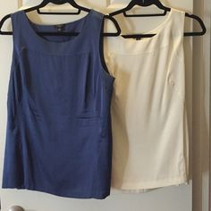 Blue and cream work tops 92% silk tops in cream and blue from Ann Taylor. Never been worn before. A little wrinkly because they've just been sitting in my closet. Ann Taylor Tops Button Down Shirts