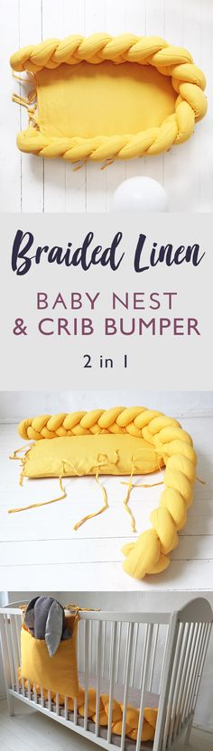 I love this braided baby nest and crib bumper! It's such a neat idea to combine these two into one. I really like this mustard color, suits our nursery perfectly! Makes a great baby shower gift! #genderneutralnursery #cribbumper #braidedpillow #knotpillow #mustard #kidsroominspiration #nursery #etsy #ad #babyshowergift