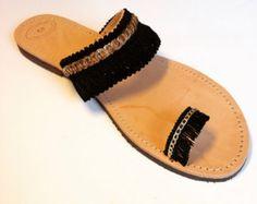 Evil eye fringe greek sandals