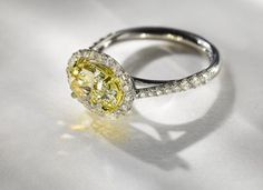 18K white gold, 18K yellow gold and diamond engagement ring by Lewis Wolf #igorman #lewiswolf