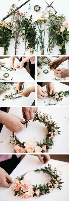 Blumenkranz selber machen wilde Blumen