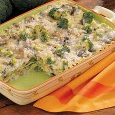 Healthy Eating - Makeover Creamy Broccoli Lasagna - One serving equals 190 calories, 4 g fat (2 g saturated fat), 16 mg cholesterol, 433 mg sodium, 22 g carbohydrate, 2 g fiber, 17 g protein.  12 servings