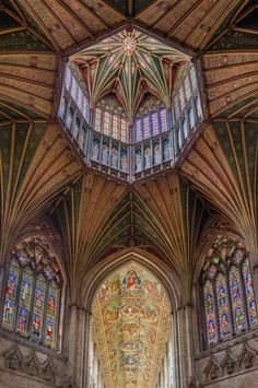 The Lantern viewed from the octagon with the nave ceiling in the background in Ely Cathedral, Cambridgeshire, England. Architecture Antique, Cathedral Architecture, Beautiful Architecture, Beautiful Buildings, Art And Architecture, Architecture Details, Ely Cathedral, Peterborough, Saint Ouen