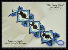 BP-PEY-113-2017-037 - Candy Kittens Blue - Peyote Pattern, Peyote Bracelet pattern, beadweaving tutorial, beaded bracelet,bracelet pattern