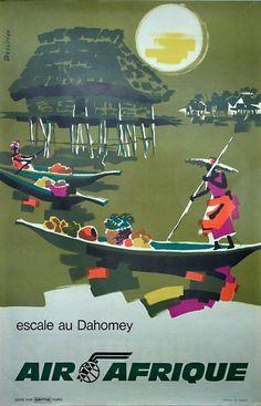 Poster: Air Afrique - Escale au Dahomey - Benin Artist: Dessirier Very par… Travel Ads, Airline Travel, Air France, Vintage Travel Posters, Vintage Airline, Africa Art, Destinations, Advertising Poster, Cool Posters