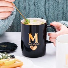 Creative Ceramic Mug In The First Letter Of Your Name With Gold - Amvaal Amazing Vanity Allure Coffee Spoon, Coffee Art, Coffee Mugs, Coffee Cups And Saucers, Tea Cups, Portable Coffee Maker, Buy Gifts Online, Heat Resistant Glass, Latte Art