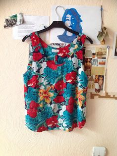 80s Havaii Print Tank Floral Sleeveless Blouse Red Green US 6 Small Medium