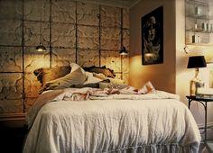 Merci tile wallpaper in bedroom