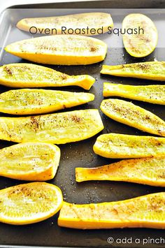 Oven Roasted Squash Recipe - I do zucchini this way, too.sometimes I use melted butter, sometimes sprinkle with basil. I always use seasalt and pepper. Great way to fix summer squash. Hope you enjoy the recipes from cooking magic Oven Roasted Squash, Oven Squash, Squash Bugs, Recipe For Roasted Squash, Sauteed Squash, Roasted Summer Squash, Yellow Zucchini, Recipe Zucchini, Veggies
