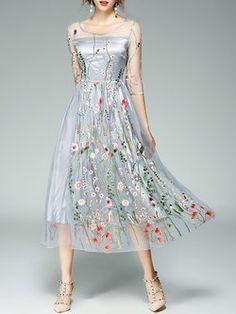 15a536ff6e07c Women Midi Dress Plus Size Gray Elegant Crew Neck
