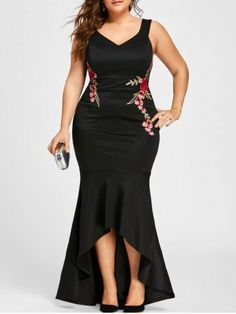 Gamiss Embroidery Roses Mermaid Dress Plus Size Maxi Sexy Black Tank V Neck Long Elegant Party Female Dress Evening Wear Dress Plus Size, Plus Size Maxi Dresses, Cheap Dresses, Sexy Dresses, Plus Size Outfits, Evening Dresses, Fashion Dresses, Peplum Dresses, Woman Dresses