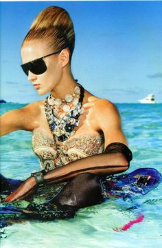 Oh you know... Just chillin in the ocean in my gown and jewels.