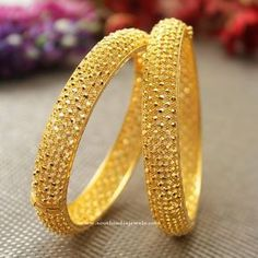 Broad Gold Bangles from Manubhai Jewellers, Broad Gold Bangle Designs, Big Gold Bangle New Designs, Latest Model Big Gold Bangle Designs.