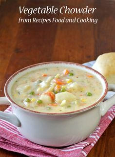 Try a big bowl of our Cheesy Vegetable Chowder with broccoli, onions, celery, corn, carrots, green beans, peas and potatoes.