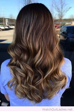 Bayalage caramel brown hair color with lustry waves