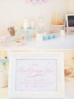Bridal shower ice cream bar. Sugar Sweet.
