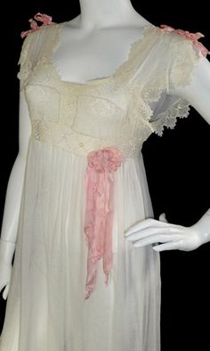 Nightdress in fine ivory cotton batiste with mixed laces and silk satin ribbon detail, circa 1910s