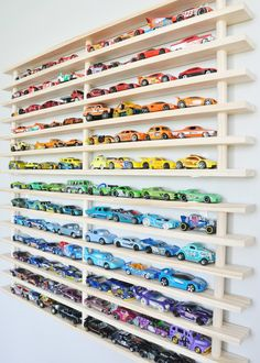 Organized HotWheels - thanks to the Mom! Where's my car? wall garage. ORDER AT www.momwheresmycar.com #hotwheels #matchbox #organize #storage #kidsrooms
