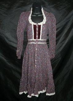 Vintage 70s Gunne Sax Jessica McClintock Burgundy Blue Pink Floral Maxi Dress XS | eBay