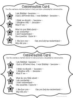 Here's a set of conversation cards that provide prompts for students to promote meaningful conversations. Repinned by SOS Inc. Resources pinterest.com/sostherapy/.