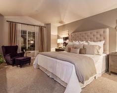 love the headboard and bedding.  Inspiring Calm Bedroom Colors for Your Home Design: Calming Color Bedroom Design With Bed With High Back Headboard Ideas ~ moffatmn.com Bedroom Designs Inspiration