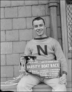 Harvard coxswain, E.H. Bennett, Jr. given rudder for beating Yale in 1936 (Harvard Crew)