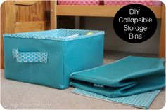 "(Jenni) Collapsible Storage Bins Tutorial... The name ""Nap Time Crafters"" is so cute! hehe #Tutorial #DIY #Project"
