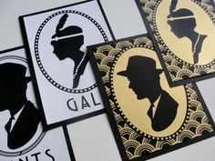 "Bathroom Signs Set of 2 / ""Deco Scallop"" Cameo Silhouette / Choose Color / 5x7 / Wedding / Great Gatsby 1920s / Pattern / Paper Sign"