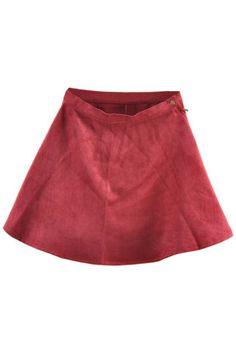Right Button Red Velvet Skirt