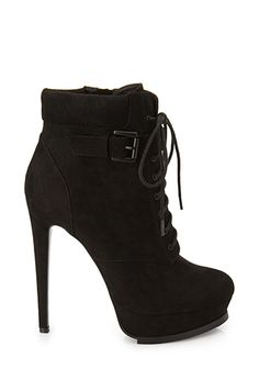 Platform Lace-Up Booties | FOREVER21 - 2000102845