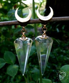 Moon & crystal ear weights - crescent moon crystal rock hanging style
