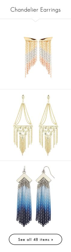 """""""Chandelier Earrings"""" by ari-ari-xoxo ❤ liked on Polyvore featuring jewelry, earrings, gold jewelry, lana jewelry, gold fringe earrings, asymmetrical earrings, earrings jewelry, chandelier earrings, chains jewelry and cable jewelry"""