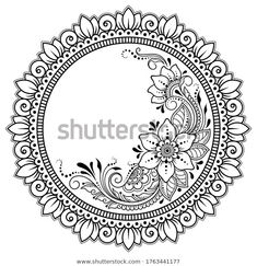 Frame in eastern tradition. Stylized with henna tattoos decorative pattern for decorating covers for book, notebook, casket, magazine, postcard and folder. Flower mandala in mehndi style. Flower Mandala, Mandala Art, Adult Coloring, Coloring Pages, Mehndi Style, Art Drawings Sketches Simple, Decorative Borders, Foil Art, Henna Tattoos