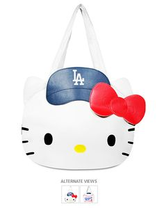 Los Angeles Dodgers MLB Hello Kitty Tote Bag Purse, $57 via Shop.MLB.Com --- So jealous that other teams have these but they apparently don't make them (or at least they don't sell them online) for the Boston Red Sox!!!