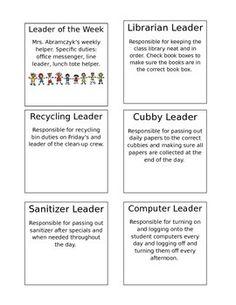 Classroom Jobs for 7 Habits
