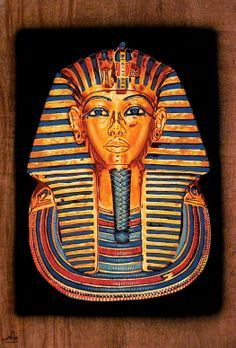 """Ancient Egyptian Art on Dark Egyptian Papyrus. Unique Handmade Art For Sale at arkangallery.com   Title: """"King Tut's Gold Mask""""   Size: 9"""" x 12""""   www.arkangallery.com"""