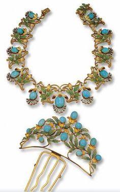 Art Nouveau Gold, Plique-A-Jour Enamel, Turquoise & Diamond Necklace & Hair Comb. Bijoux Art Nouveau, Art Nouveau Jewelry, Jewelry Art, Antique Jewelry, Jewelry Accessories, Vintage Jewelry, Fine Jewelry, Jewelry Design, Bridal Accessories