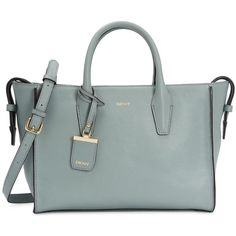 Womens Shoulder Bags DKNY Chelsea Duck Egg Pebbled Leather Tote ($490) ❤ liked on Polyvore featuring bags, handbags, tote bags, dkny handbags, green handbags, zip tote, pebbled leather handbag and dkny tote
