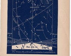 1891 blue celestial sky chart original antique astronomy lithograph print - western map for january