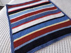 Hand Crochet Striped Baby Blanket Throw in Baby, Nursery Bedding, Blankets & Throws   eBay