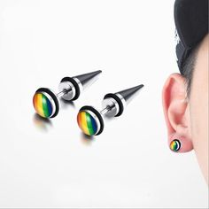 Rainbow Colors Stainless Steel Stud Earrings //Price: $13.23 & FREE Shipping //     #stone #trendy