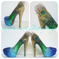 Peacock Feather Ombre Glitter High Heels - pinned by pin4etsy.com