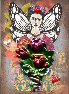 Frida Kahlo Art Original ACEO Collage La Rosa de by MyArtPlace, $9.50