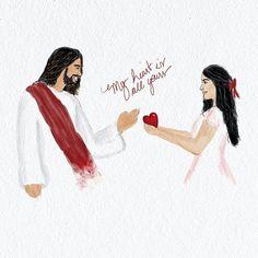 """Jesus my heart is all yours ❤{@artsbyerica} """"Meu coração é todo teu"""""""