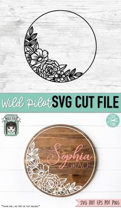 Flower Circle, Flower Svg, Flower Frame, Monogram Frame, Svg Files For Cricut, Free Svg Cut Files, Silhouette Cameo Projects, Cricut Creations, Name Signs
