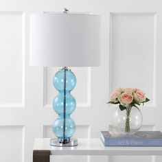 Traditional Table Lamps, Table Lamp Sets, Drum Shade, Lamp Bases, Chrome, Cerulean, Bulb, Cord, Glass