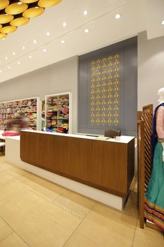 Apsara saree showroom - a+t associates full project in 2019 showroom interi Showroom Interior Design, Boutique Interior Design, Interior Design Photos, Retail Interior, Clothing Store Interior, Clothing Store Design, Cash Counter Design, Shop Interiors, Design Interiors