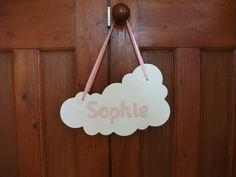 Boys baby gift blue wooden star plaque crafty pinterest personalised name plaque white cloud door hanger new baby gift nursery negle Image collections